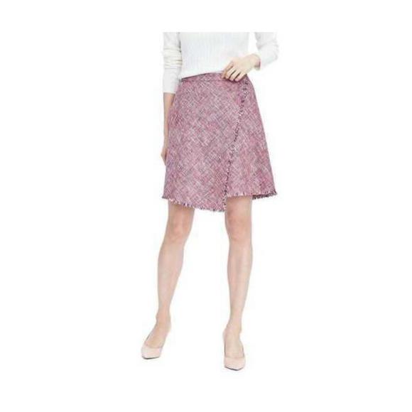 2d76d55360 Banana Republic Skirts | Fringe Pink Red Tweed Skirt 4 8 10 | Poshmark
