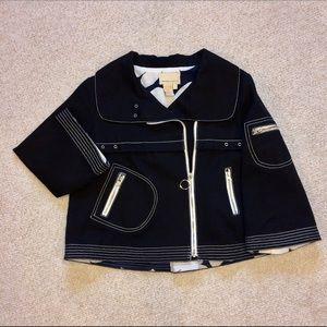 Black denim swing jacket w/ white accent stitching