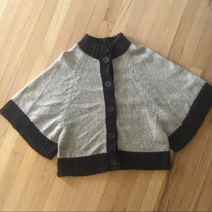 Sweaters - Gray and Black Thick Knit Poncho Sweater Medium