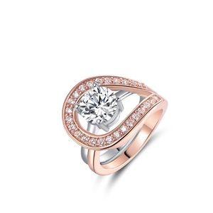 Stunning Round Cut Teardrop Halo Ring