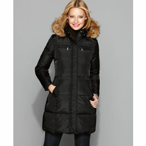 c0e9a86ae9103 Michael Kors Black Down Faux Fur Hooded Coat. M_5a0555ef6802786f8806dd63