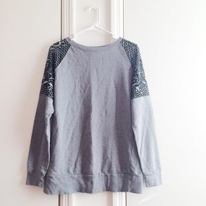 Urban Outfitters Sheer Sequin Gray Sweater
