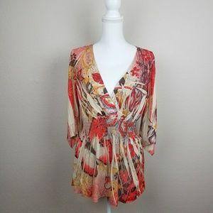 Fire Fairy Tunic Shirt Dress Kimono Sleeve Boho L