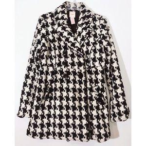 🛍🎉 SALE • Houndstooth Wool Pea Coat • Large