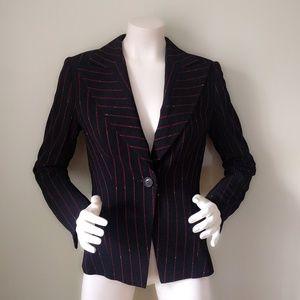 Escada Red & Black Pinstripe Girl Boss Blazer M