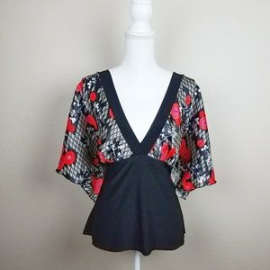 Asian Style Kimono Sleeve Blouse Vneck Red Floral