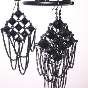 Sexy Gothic Black 🖤 Jewel & Chain Earrings