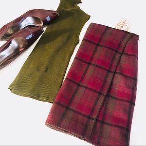 Eddie Bauer Burgundy Plaid Wool Wrap Skirt