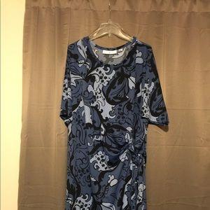 Blue Paisley wrap (faux) dress