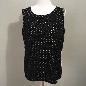 Metaphor Lazer Cut Black and White Blouse