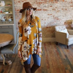Tops - Mustard floral long sleeve asymmetrical tunic