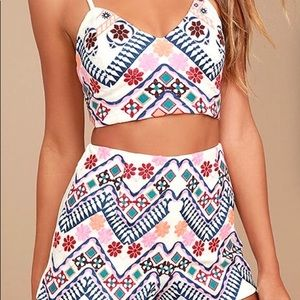 White Embroidered Two Piece Set