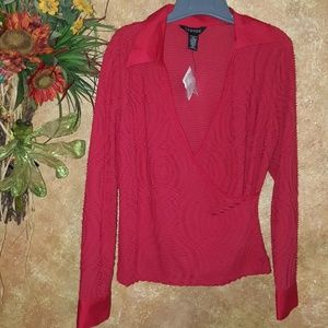 New with tags red Christmas C blouse
