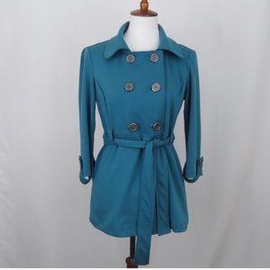 Matty M Nordstrom turquoise ponte trench coat S