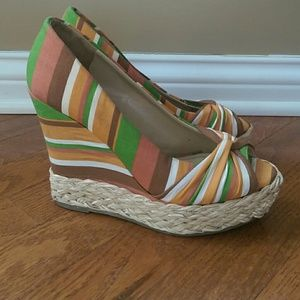 A.N.A Colorful Striped Open Toe Wedges Size 6.5M