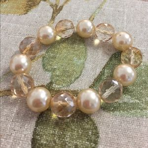 Jewelry - Simulated Pearl Faceted Beaded Stretch Bracelet