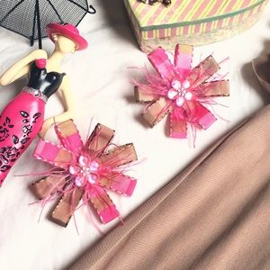 Other - 🎀Brown and Pink Hair Bows Set of 2🎀