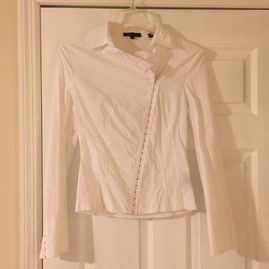 BCBGMaxazria White Button Up Shirt XS Bell Sleeves