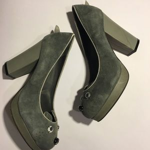 Shellys London Gray Critter Suede Heels