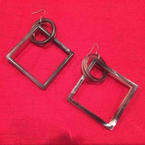 Retro Faux Marble 'Circle and Square' 80s Earrings
