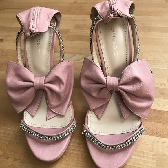 ⭕️ Final Sale⭕️ bamboo pink bow & diamond heels