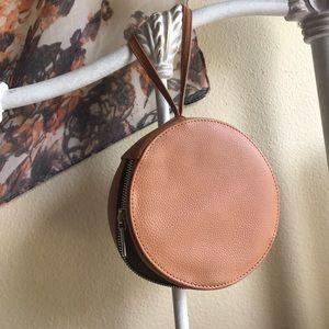 Round Leather Clutch