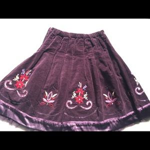 Monsoon suede and satin girls skirt Sz 6-8