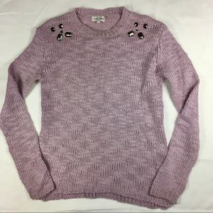Sweaters - Lavender knit sweater with studded shoulder sz L