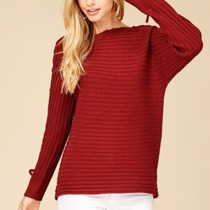 STACCATO Sweaters - NEW BURGUNDY BOAT NECK LACE UP SLEEVE SWEATER