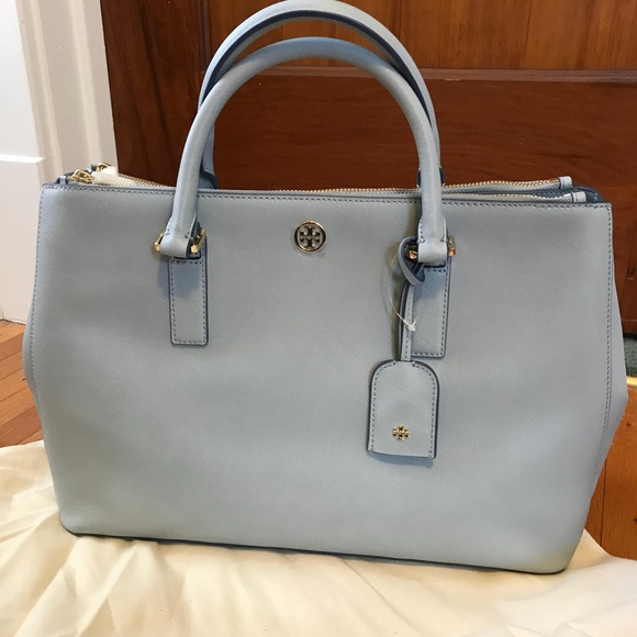 321a3125adc9 Tory Burch Robinson Large Double Zip Tote Blue