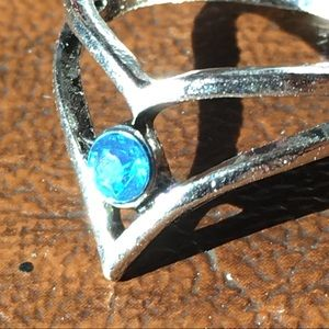 Jewelry - Silver Fashion Ring Blue Aquamarine Princess Crown