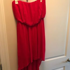 BCBG pink high low pleated dress XS