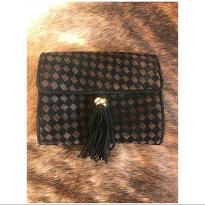 Rare Woven suede black brown tassel clutch vintage