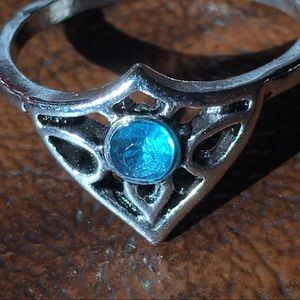 Jewelry - Silver Fashion Ring Blue Aquamarine Princess Tiara