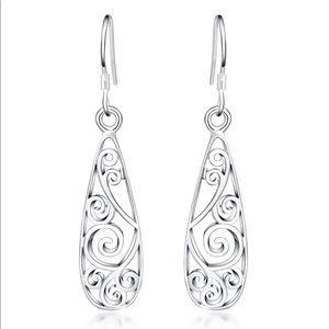 Jewelry - NWOT Silver Scroll Drop Wired Earrings