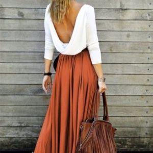 Dresses & Skirts - Low Back Maxi Dress (NWOT) with Belt