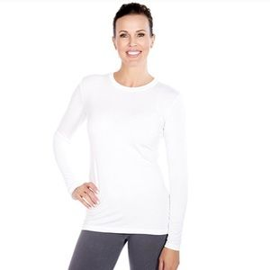 Cynthia Rowley Long Sleeve Crew Neck Tee White