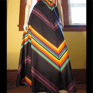 VTG 70s Chevron Rainbow Stripes Aline Maxi Skirt