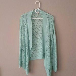 Turquoise Blue Knit Chevron Cardigan Sweater