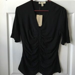 Burberry Woman's V Neck Ruffles Front Top