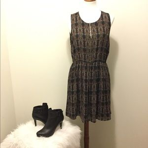 Brown & Black Mid-length Beaded LA Made Dress