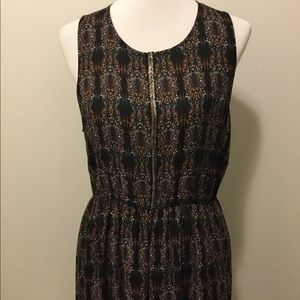 Brown & Black Mid-length Beaded LA Made Dress