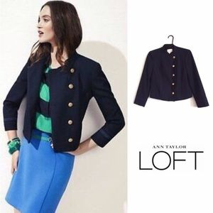 LOFT Navy Asymmetrical Military Jacket