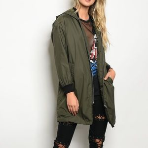 Jackets & Blazers - Olive Bomber Jacket with Detachable Hood