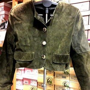 Balmain Paris Green Suede Jacket Gold Buttons L