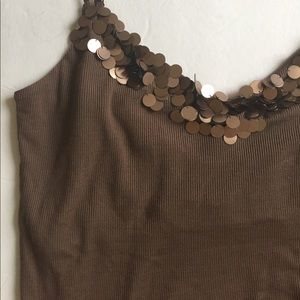 City DKNY lovely shiny brown silk tank top.Sz L