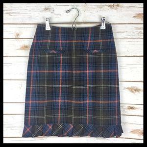 cabi // heritage plaid pleated wool pencil skirt