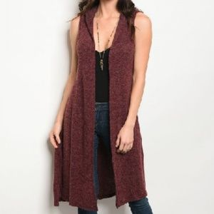 NWT Hooded Marled Wine Burgundy Duster Cardigan