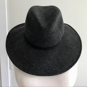 ZARA Gray Wide Brim Wool Fedora Hat