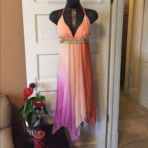 Nwt  sexy halter style dress asymmetrical hem line